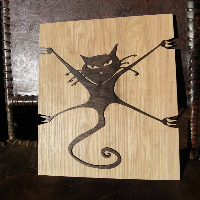 Crazy Cat wood Relief